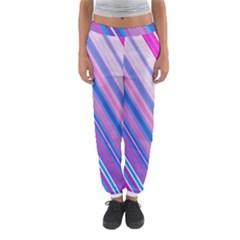 Line Obliquely Pink Women s Jogger Sweatpants