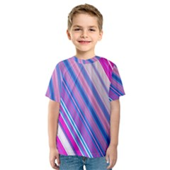 Line Obliquely Pink Kids  Sport Mesh Tee