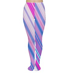 Line Obliquely Pink Women s Tights