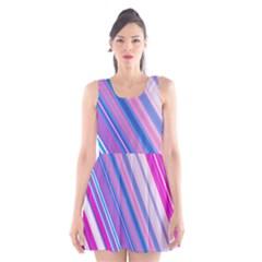 Line Obliquely Pink Scoop Neck Skater Dress