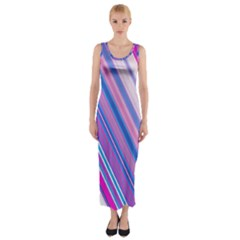 Line Obliquely Pink Fitted Maxi Dress