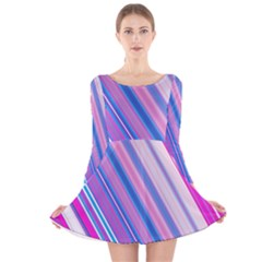 Line Obliquely Pink Long Sleeve Velvet Skater Dress