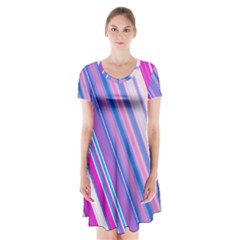 Line Obliquely Pink Short Sleeve V Neck Flare Dress