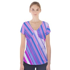 Line Obliquely Pink Short Sleeve Front Detail Top