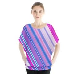 Line Obliquely Pink Blouse