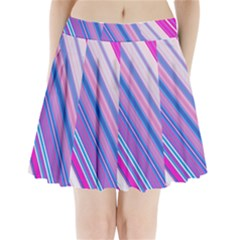 Line Obliquely Pink Pleated Mini Skirt