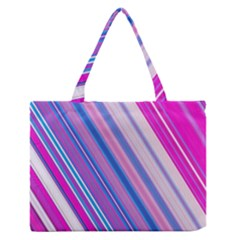Line Obliquely Pink Medium Zipper Tote Bag