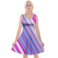 Line Obliquely Pink Reversible Velvet Sleeveless Dress