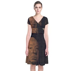 Alfred Hitchcock - Psycho  Short Sleeve Front Wrap Dress