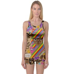 Background Images Colorful Bright One Piece Boyleg Swimsuit