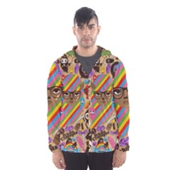 Background Images Colorful Bright Hooded Wind Breaker (Men)