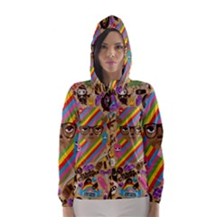 Background Images Colorful Bright Hooded Wind Breaker (Women)