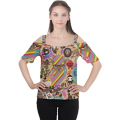 Background Images Colorful Bright Women s Cutout Shoulder Tee