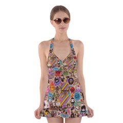 Background Images Colorful Bright Halter Swimsuit Dress