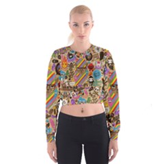 Background Images Colorful Bright Women s Cropped Sweatshirt