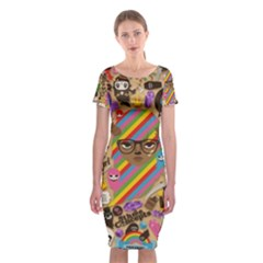 Background Images Colorful Bright Classic Short Sleeve Midi Dress