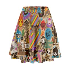 Background Images Colorful Bright High Waist Skirt