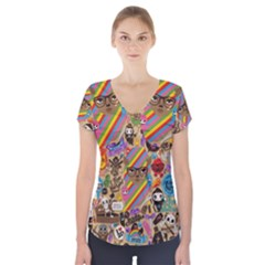 Background Images Colorful Bright Short Sleeve Front Detail Top