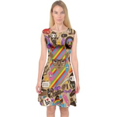 Background Images Colorful Bright Capsleeve Midi Dress