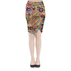 Background Images Colorful Bright Midi Wrap Pencil Skirt