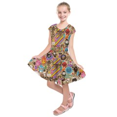 Background Images Colorful Bright Kids  Short Sleeve Dress