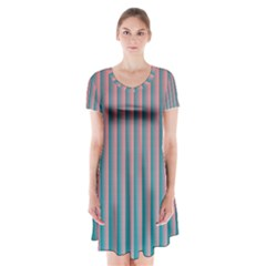 Hald Simulate Tritanope Color Vision With Color Lookup Tables Short Sleeve V-neck Flare Dress