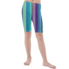 Color Stripes Kids  Mid Length Swim Shorts