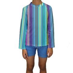 Color Stripes Kids  Long Sleeve Swimwear