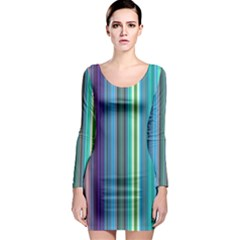 Color Stripes Long Sleeve Bodycon Dress