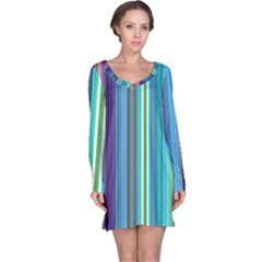Color Stripes Long Sleeve Nightdress