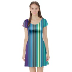 Color Stripes Short Sleeve Skater Dress