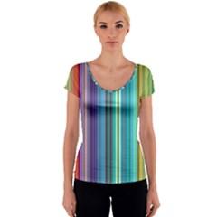 Color Stripes Women s V-Neck Cap Sleeve Top