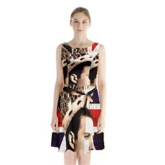 Freddie Mercury Sleeveless Chiffon Waist Tie Dress