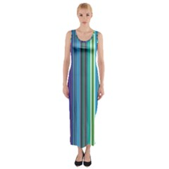Color Stripes Fitted Maxi Dress