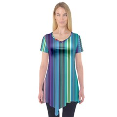 Color Stripes Short Sleeve Tunic