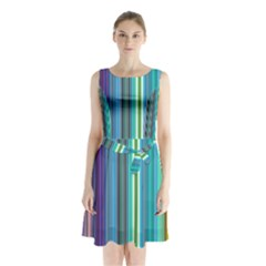 Color Stripes Sleeveless Chiffon Waist Tie Dress