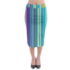 Color Stripes Midi Pencil Skirt