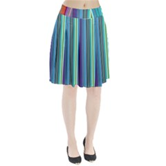 Color Stripes Pleated Skirt