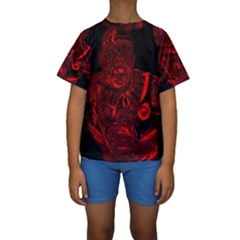 Warrior - red Kids  Short Sleeve Swimwear
