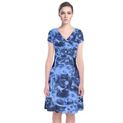 Blue angel Short Sleeve Front Wrap Dress