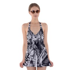 Gray girl  Halter Swimsuit Dress