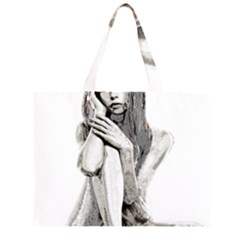 Stone girl Zipper Large Tote Bag