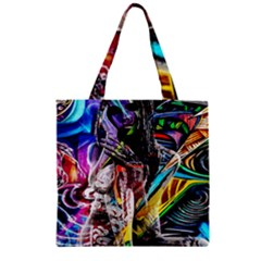 Graffiti girl Zipper Grocery Tote Bag