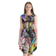 Graffiti girl Sleeveless Chiffon Dress