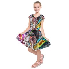 Graffiti girl Kids  Short Sleeve Dress