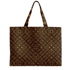 Wooden Ornamented Pattern Zipper Mini Tote Bag