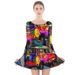 Hippie van  Long Sleeve Velvet Skater Dress