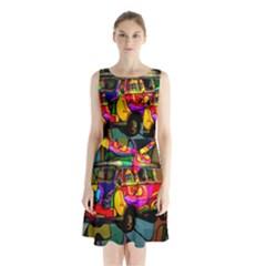 Hippie van  Sleeveless Chiffon Waist Tie Dress