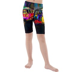Hippie van  Kids  Mid Length Swim Shorts