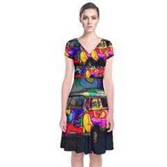 Hippie van  Short Sleeve Front Wrap Dress